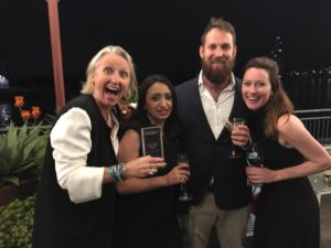 Sally Gosper and the Simon Johnson team with Holy a Goat producer of the Year Award. The fabulous team at Holy Goat are very honoured to receive this award.